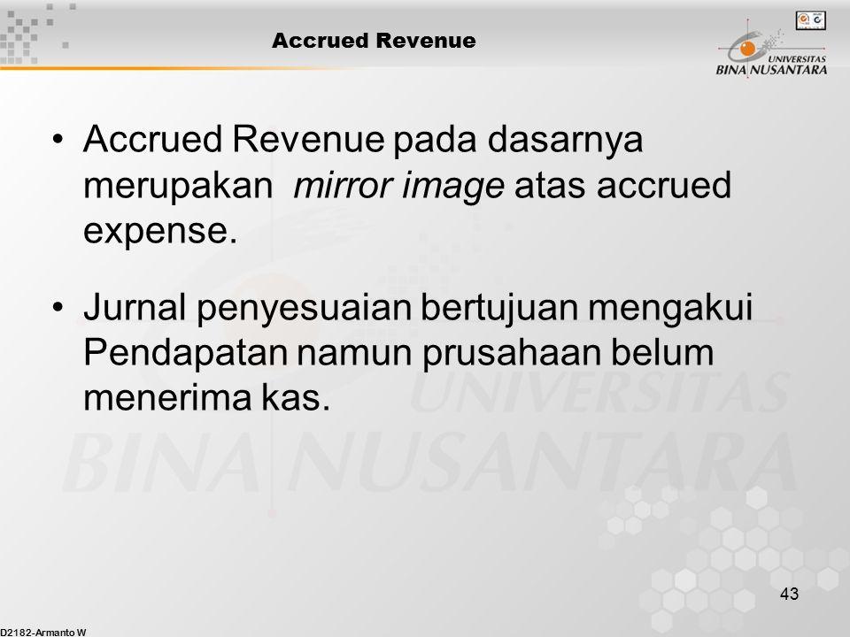 Accrued Revenue Accrued Revenue pada dasarnya merupakan mirror image atas accrued expense.