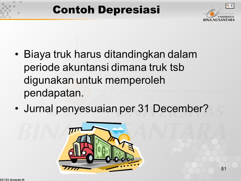 Contoh Depresiasi Biaya truk harus ditandingkan dalam periode akuntansi dimana truk tsb digunakan untuk memperoleh pendapatan.