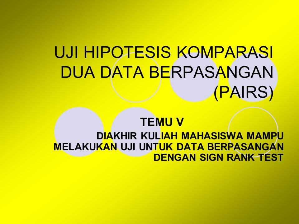 UJI HIPOTESIS KOMPARASI DUA DATA BERPASANGAN (PAIRS)