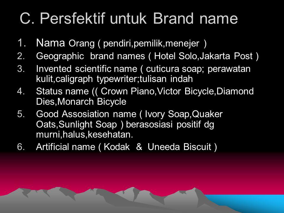 C. Persfektif untuk Brand name