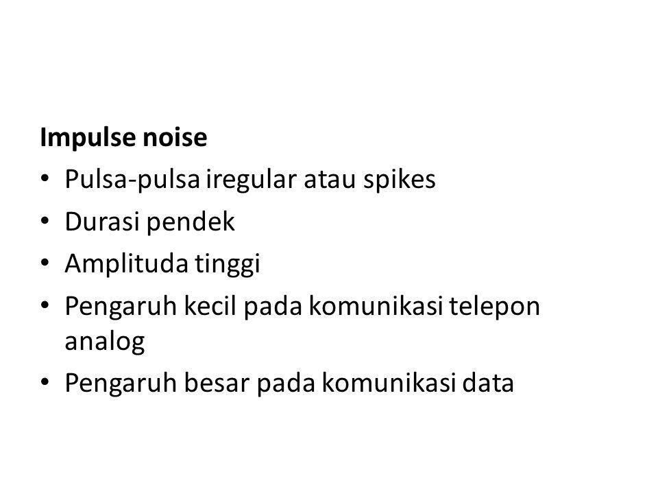 Impulse noise Pulsa-pulsa iregular atau spikes. Durasi pendek. Amplituda tinggi. Pengaruh kecil pada komunikasi telepon analog.