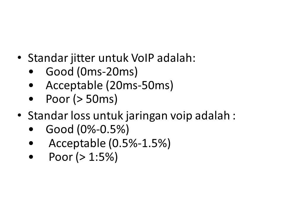 Standar jitter untuk VoIP adalah: • Good (0ms-20ms) • Acceptable (20ms-50ms) • Poor (> 50ms)