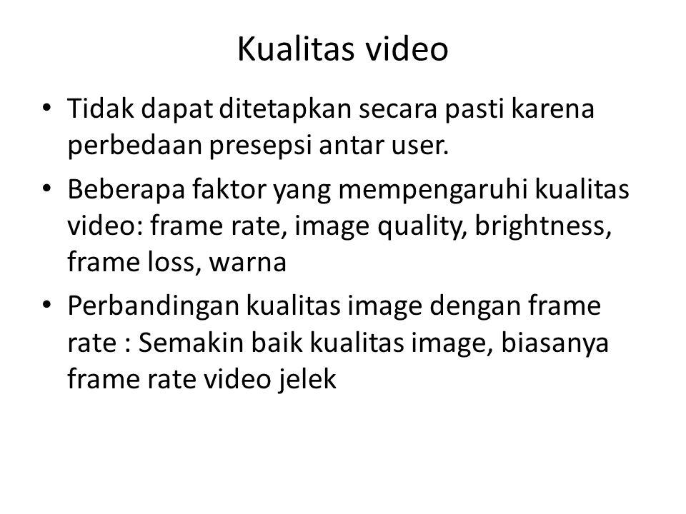 Kualitas video Tidak dapat ditetapkan secara pasti karena perbedaan presepsi antar user.