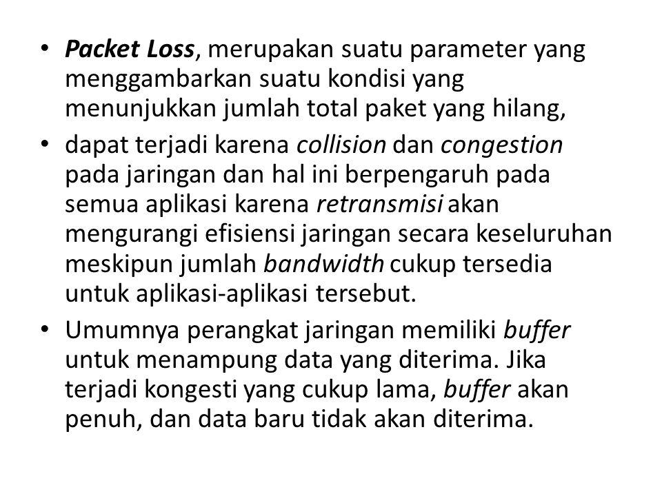 Packet Loss, merupakan suatu parameter yang menggambarkan suatu kondisi yang menunjukkan jumlah total paket yang hilang,