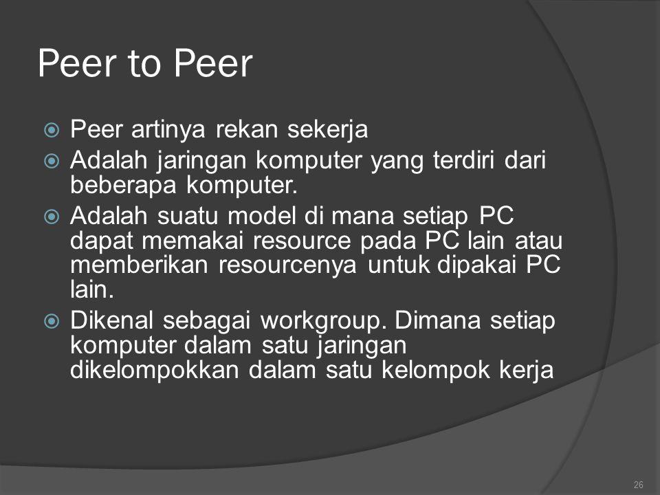 Peer to Peer Peer artinya rekan sekerja