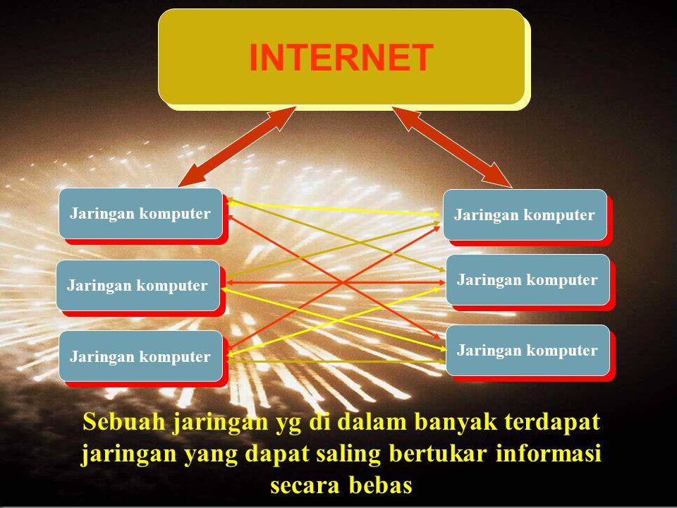 INTERNET Sebuah jaringan yg di dalam banyak terdapat jaringan yang dapat saling bertukar informasi secara bebas.