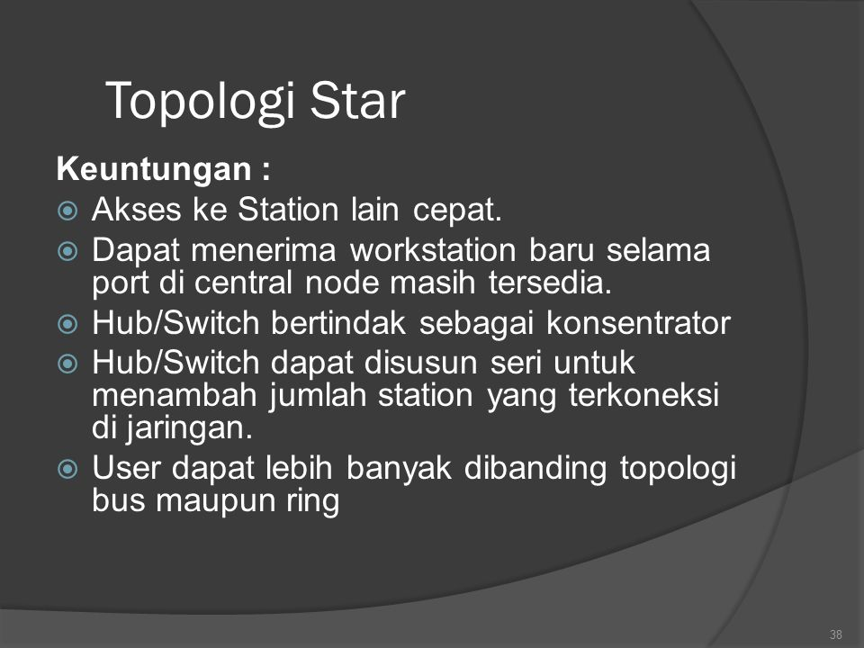 Topologi Star Keuntungan : Akses ke Station lain cepat.