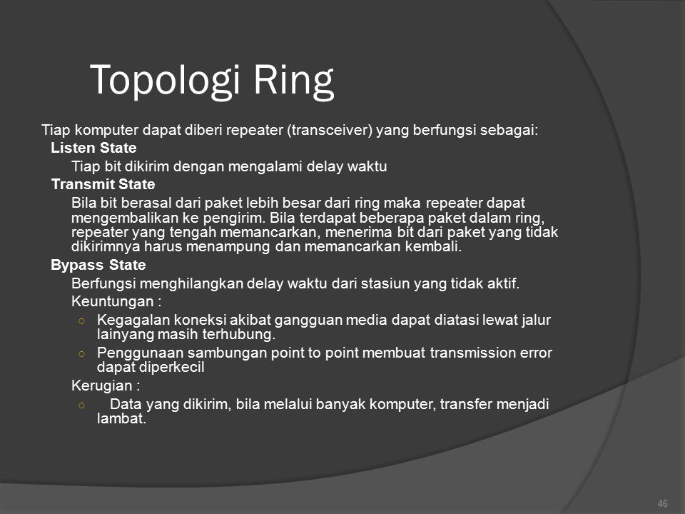 Topologi Ring Tiap komputer dapat diberi repeater (transceiver) yang berfungsi sebagai: Listen State.