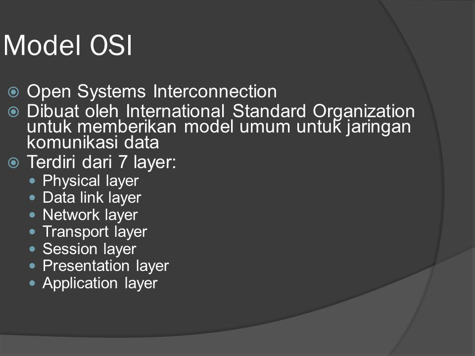 Model OSI Open Systems Interconnection