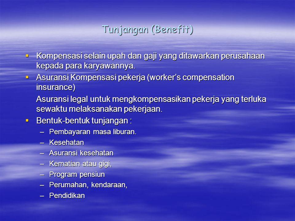 Tunjangan (Benefit) Kompensasi selain upah dan gaji yang ditawarkan perusahaan kepada para karyawannya.