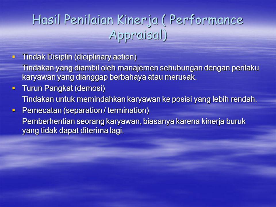 Hasil Penilaian Kinerja ( Performance Appraisal)