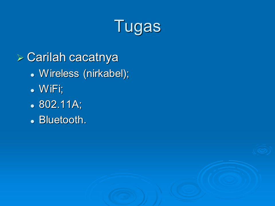 Tugas Carilah cacatnya Wireless (nirkabel); WiFi; 802.11A; Bluetooth.