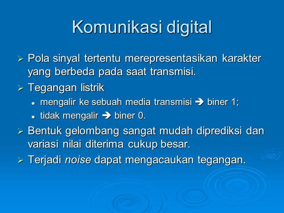 Komunikasi digital Pola sinyal tertentu merepresentasikan karakter yang berbeda pada saat transmisi.
