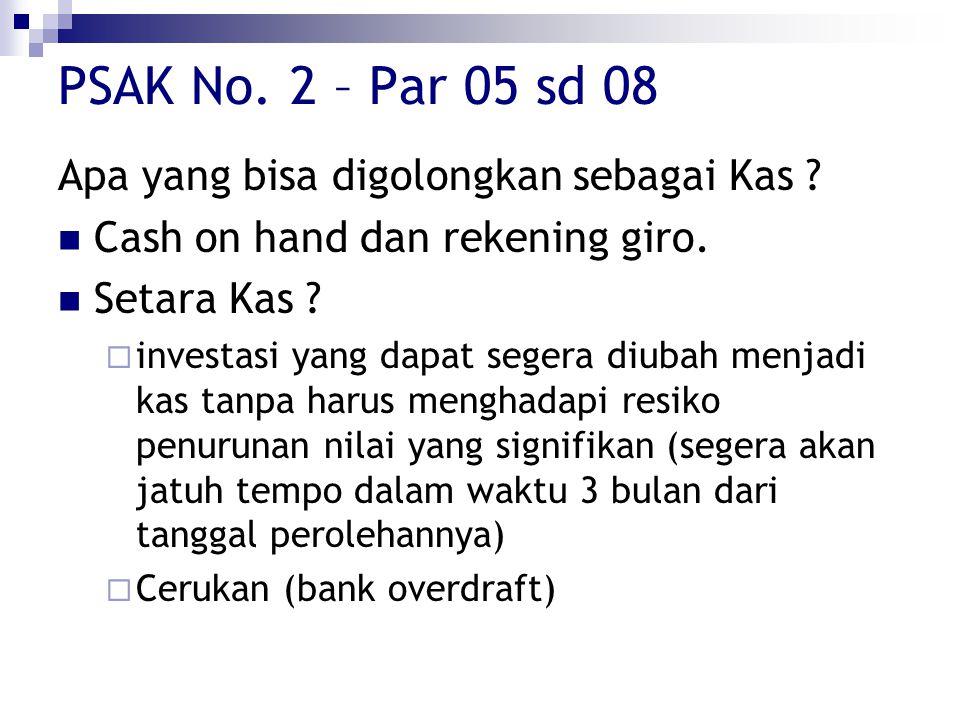 PSAK No. 2 – Par 05 sd 08 Apa yang bisa digolongkan sebagai Kas