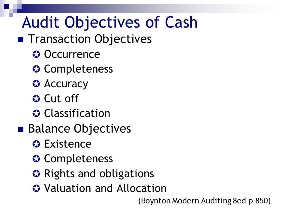 Audit Objectives of Cash