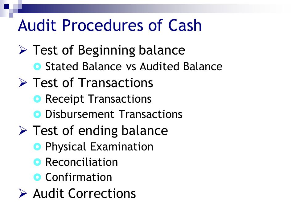Audit Procedures of Cash
