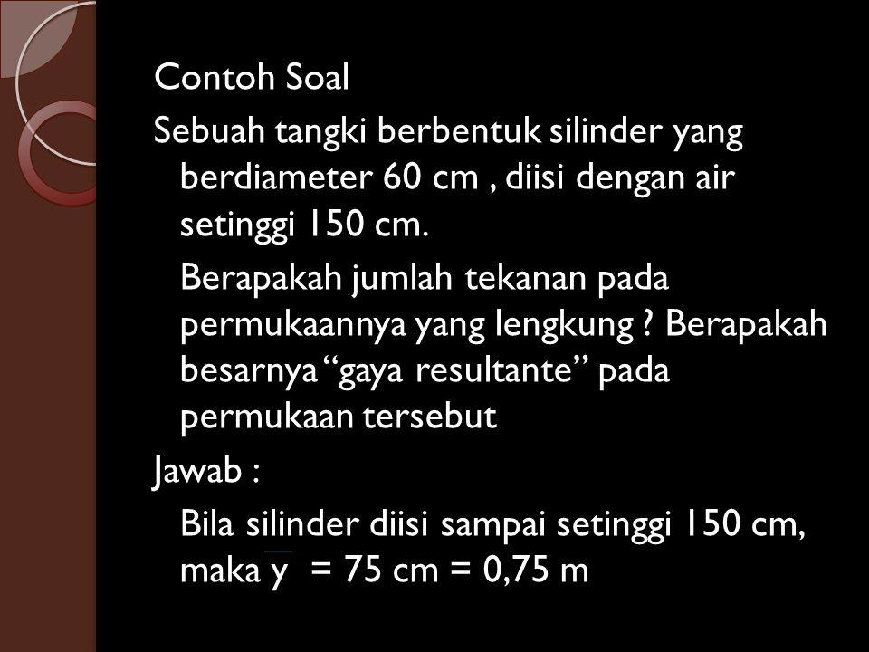 Contoh Soal Sebuah tangki berbentuk silinder yang berdiameter 60 cm , diisi dengan air setinggi 150 cm.