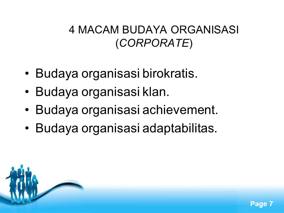 4 MACAM BUDAYA ORGANISASI (CORPORATE)