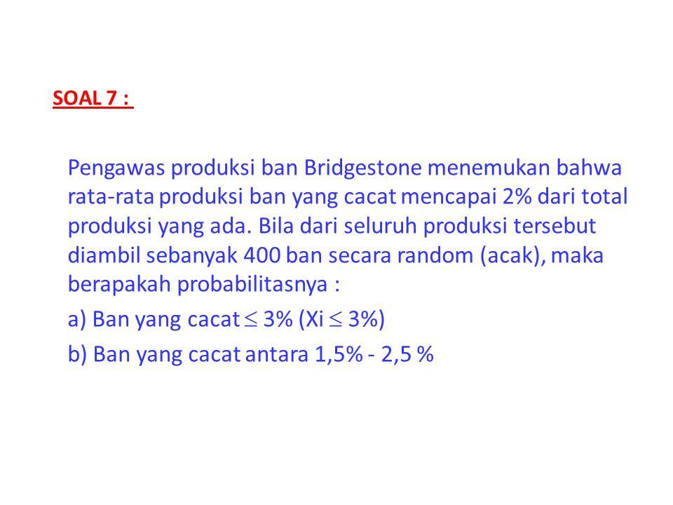 a) Ban yang cacat  3% (Xi  3%) b) Ban yang cacat antara 1,5% - 2,5 %