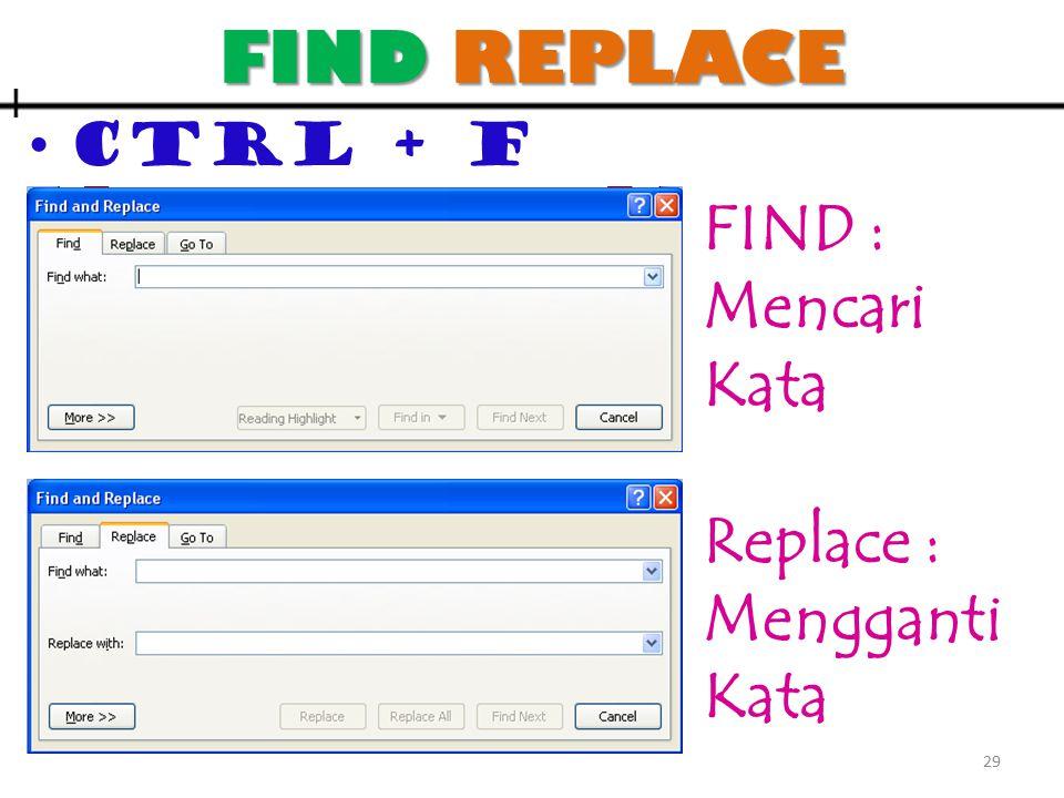 FIND REPLACE CTRL + F FIND : Mencari Kata Replace : Mengganti Kata