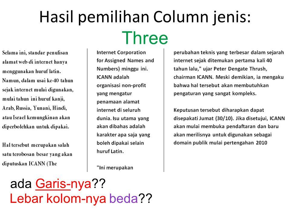 Hasil pemilihan Column jenis: Three