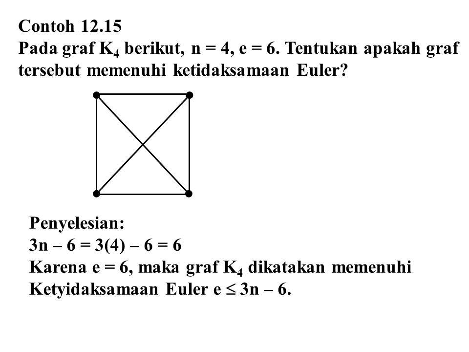 Contoh 12.15 Pada graf K4 berikut, n = 4, e = 6. Tentukan apakah graf. tersebut memenuhi ketidaksamaan Euler