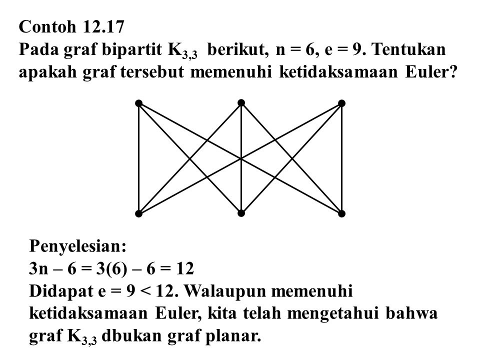 Contoh 12.17 Pada graf bipartit K3,3 berikut, n = 6, e = 9. Tentukan. apakah graf tersebut memenuhi ketidaksamaan Euler