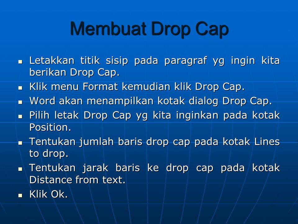 Membuat Drop Cap Letakkan titik sisip pada paragraf yg ingin kita berikan Drop Cap. Klik menu Format kemudian klik Drop Cap.