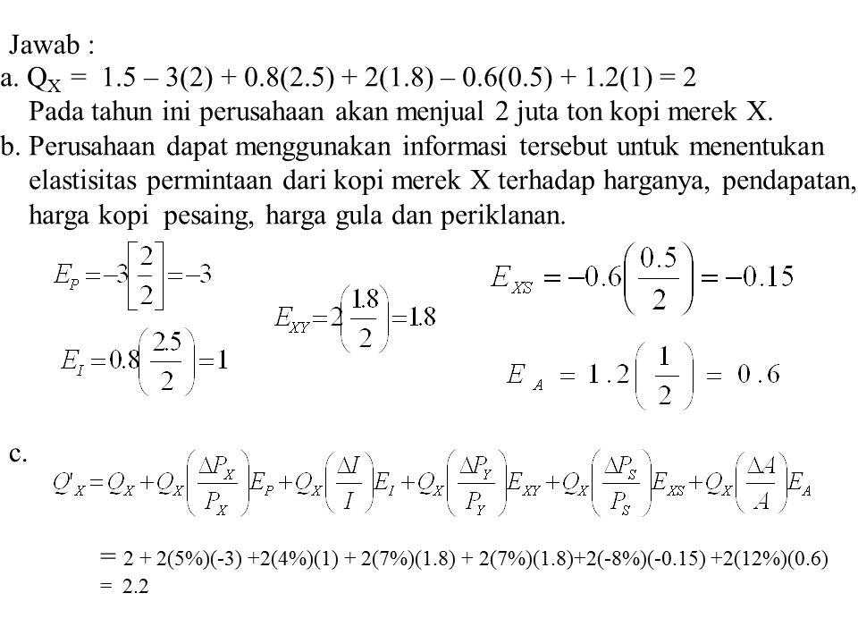 a. QX = 1.5 – 3(2) + 0.8(2.5) + 2(1.8) – 0.6(0.5) + 1.2(1) = 2