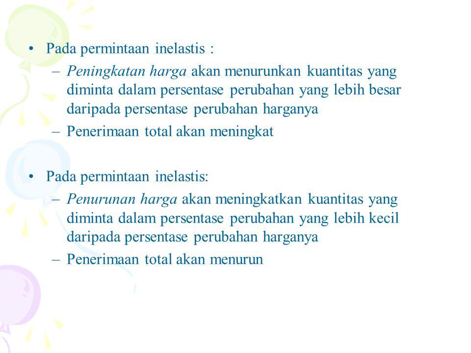 Pada permintaan inelastis :