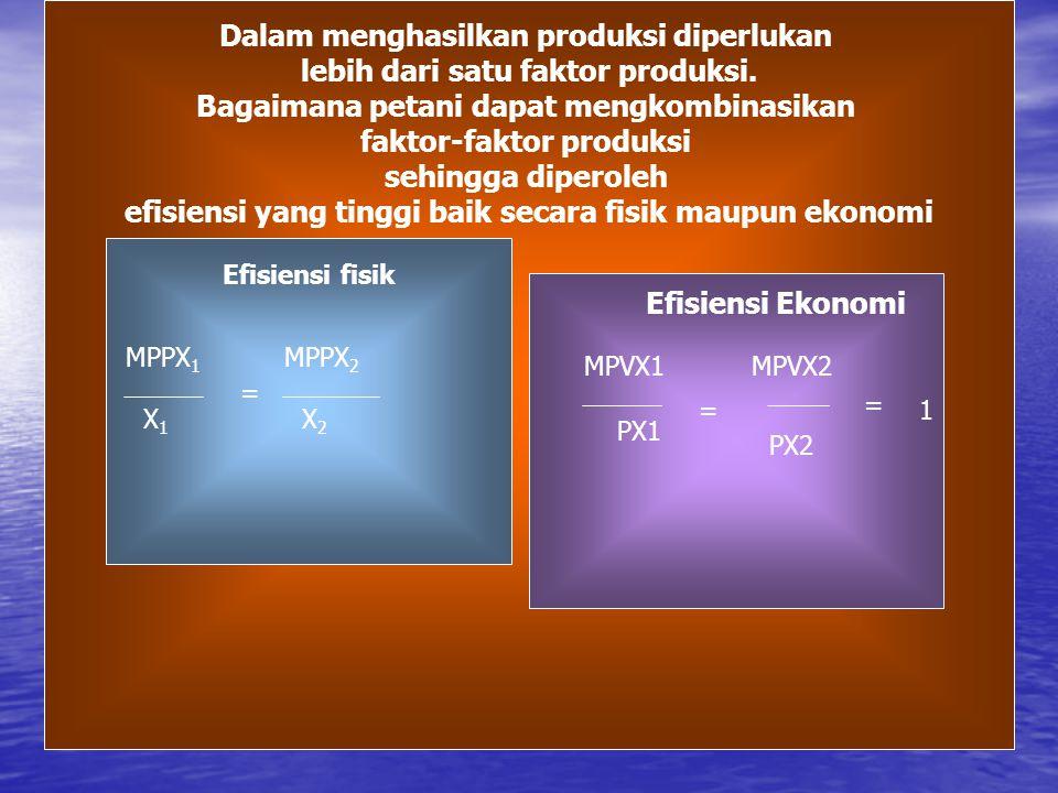 Kombinasi Faktor Produksi Dalam menghasilkan produksi diperlukan