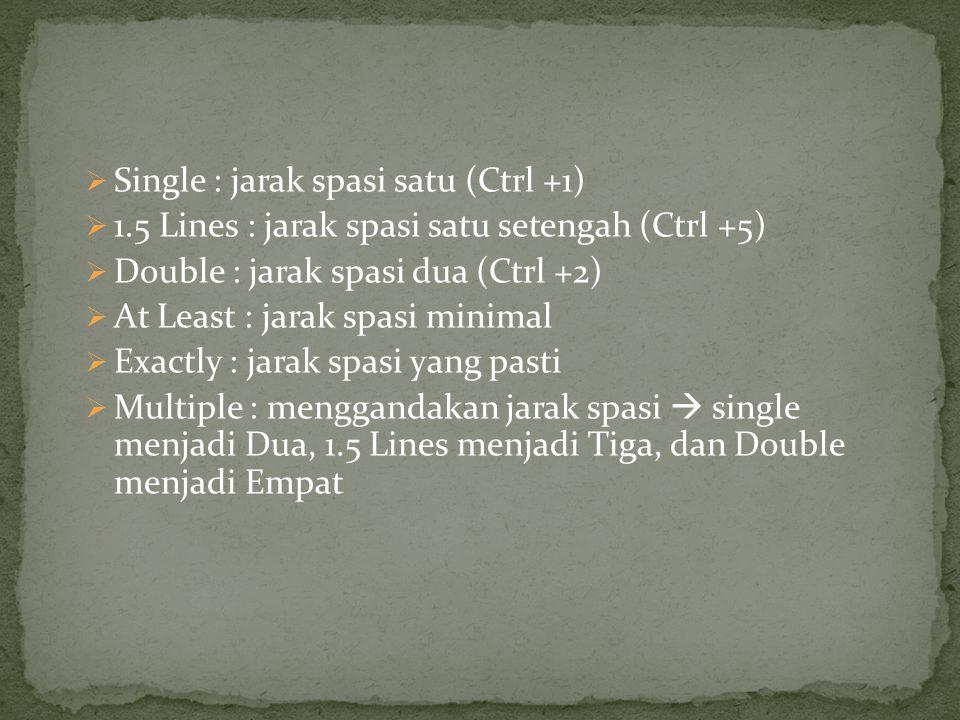 Single : jarak spasi satu (Ctrl +1)