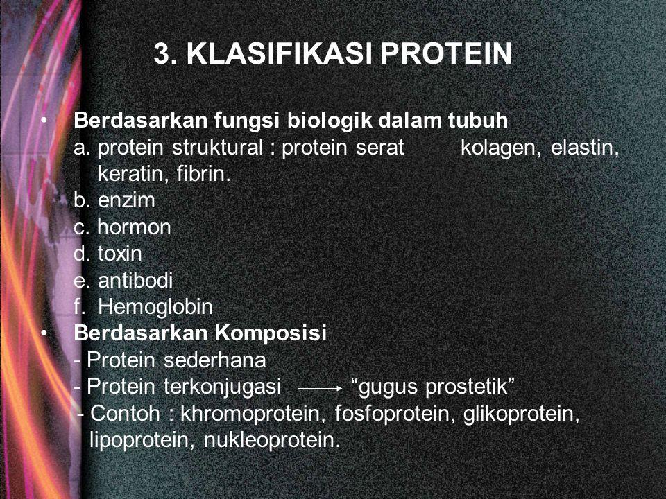 3. KLASIFIKASI PROTEIN Berdasarkan fungsi biologik dalam tubuh