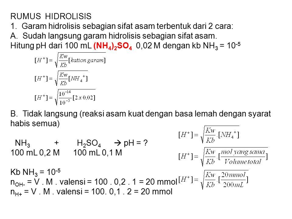 RUMUS HIDROLISIS 1. Garam hidrolisis sebagian sifat asam terbentuk dari 2 cara: A. Sudah langsung garam hidrolisis sebagian sifat asam.