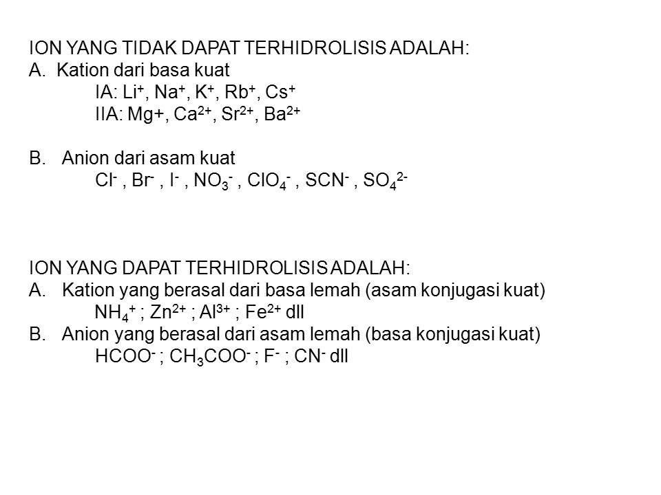ION YANG TIDAK DAPAT TERHIDROLISIS ADALAH: