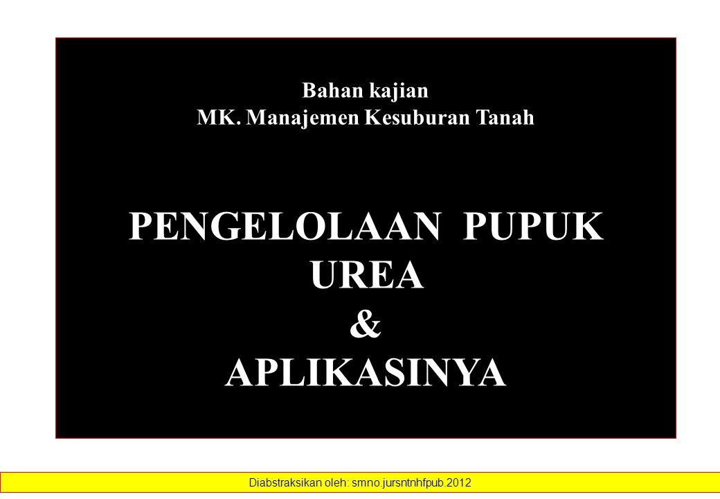 MK. Manajemen Kesuburan Tanah PENGELOLAAN PUPUK UREA
