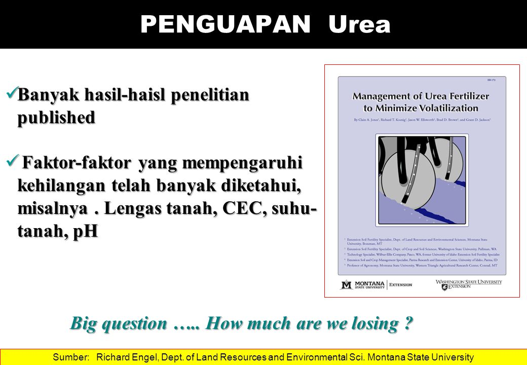 PENGUAPAN Urea Banyak hasil-haisl penelitian published