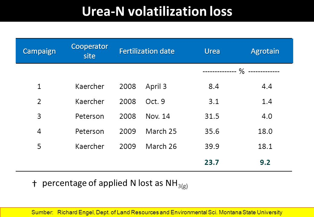 Urea-N volatilization loss