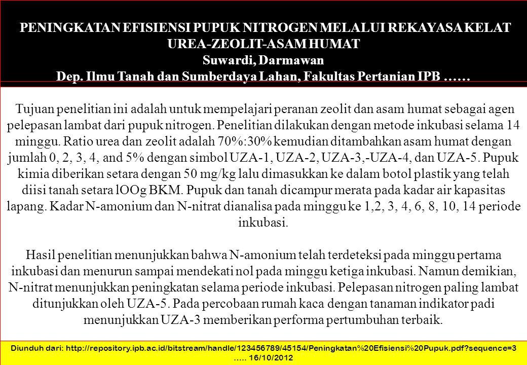 Dep. Ilmu Tanah dan Sumberdaya Lahan, Fakultas Pertanian IPB ……