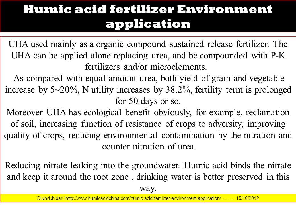 Humic acid fertilizer Environment application