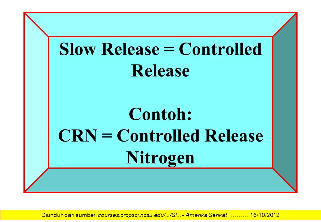 Slow Release = Controlled Release Contoh: CRN = Controlled Release Nitrogen