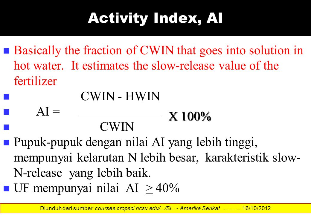 Activity Index, AI Basically the fraction of CWIN that goes into solution in hot water. It estimates the slow-release value of the fertilizer.