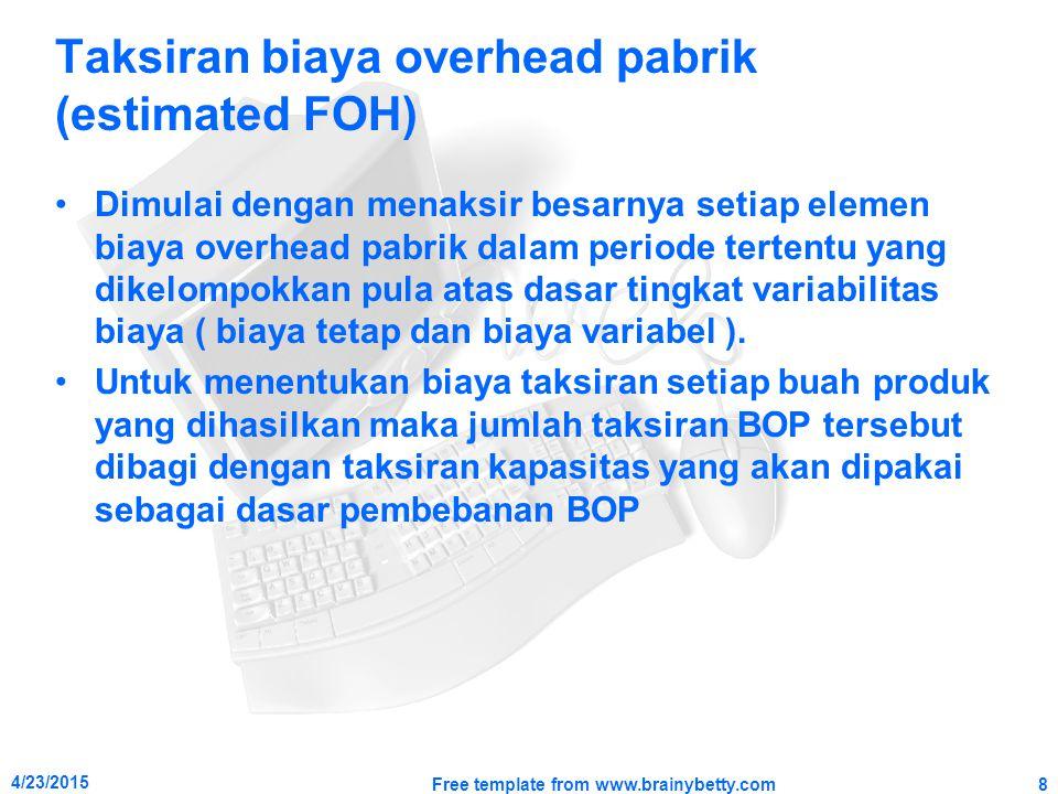 Taksiran biaya overhead pabrik (estimated FOH)