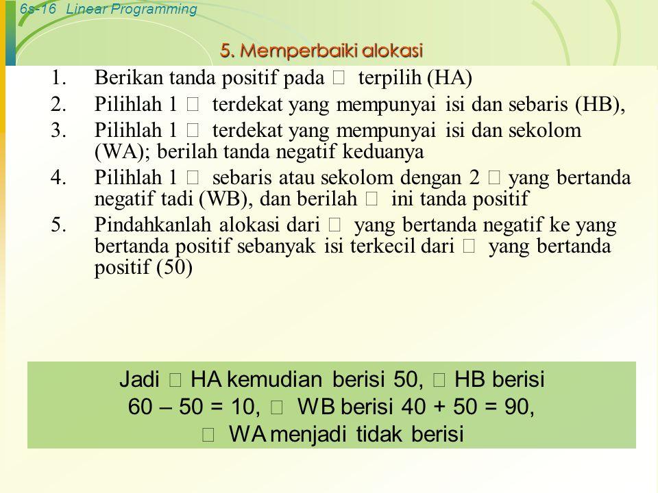 5. Memperbaiki alokasi Berikan tanda positif pada  terpilih (HA) Pilihlah 1  terdekat yang mempunyai isi dan sebaris (HB),