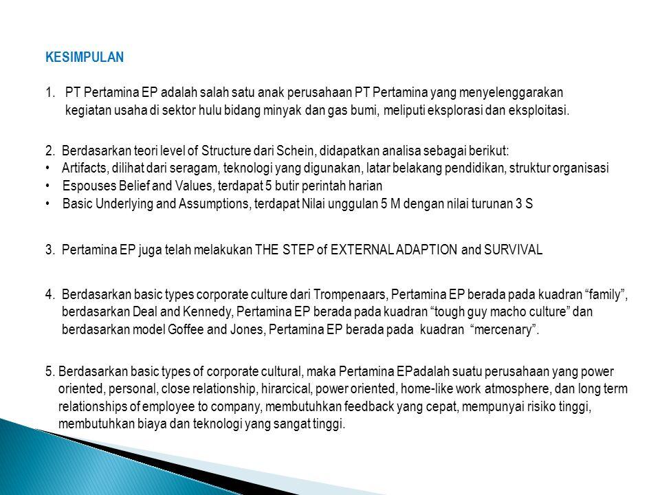 KESIMPULAN 1. PT Pertamina EP adalah salah satu anak perusahaan PT Pertamina yang menyelenggarakan.