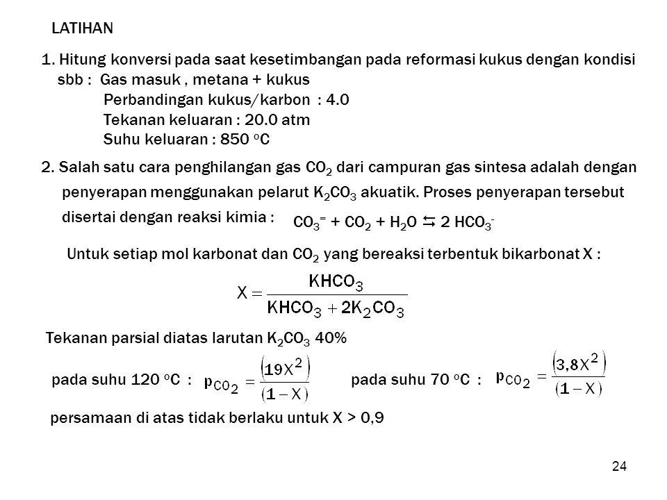 LATIHAN 1. Hitung konversi pada saat kesetimbangan pada reformasi kukus dengan kondisi. sbb : Gas masuk , metana + kukus.