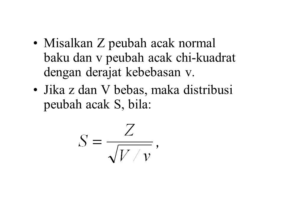 Misalkan Z peubah acak normal baku dan v peubah acak chi-kuadrat dengan derajat kebebasan v.