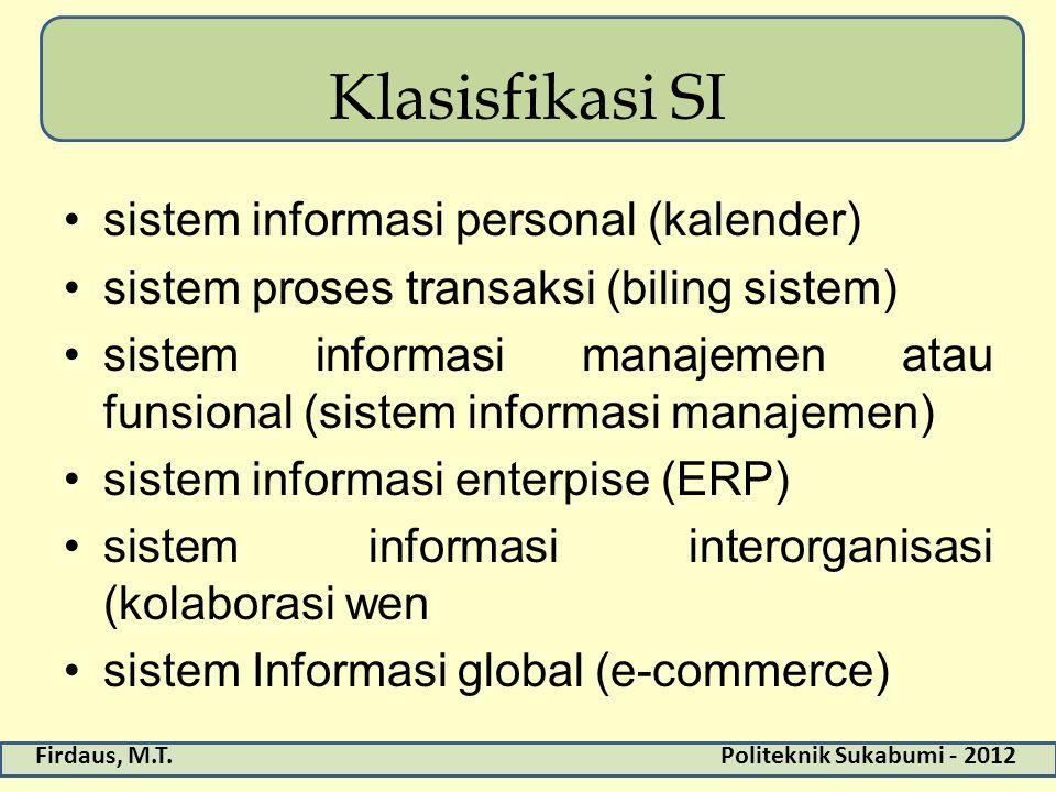 Klasisfikasi SI sistem informasi personal (kalender)