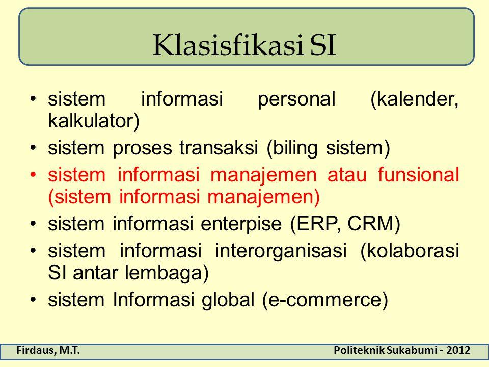 Klasisfikasi SI sistem informasi personal (kalender, kalkulator)