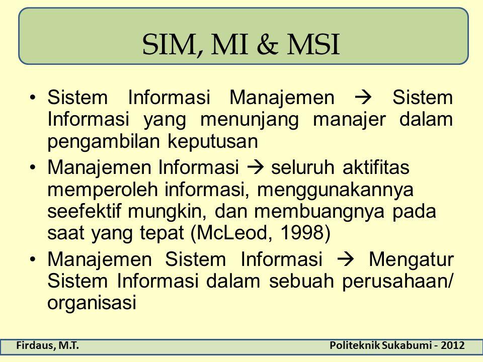 SIM, MI & MSI Sistem Informasi Manajemen  Sistem Informasi yang menunjang manajer dalam pengambilan keputusan.